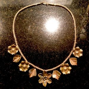 Flowers and leaves Sterling Silver necklace